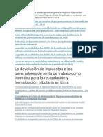 La Formalización de Los Contribuyentes Acogidos Al Régimen Especial Del Impuesto a La Renta y El Nuevo Régimen Único Simplificado y Su Relación Con La Recaudación Tributaria en El Perú 2010