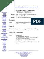 Programação da XIII ASAMBLEA GENERAL ORDINARIA DE CONFEMEL