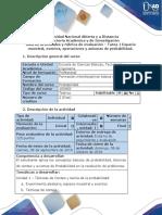 Guía de Actividades y Rúbrica de Evaluación - Tarea 1 - Espacio Muestral, Eventos, Operaciones y Axiomas de Probabilidad.