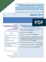 Reporte de Conflictos Sociales N° 186 - Agosto 2019