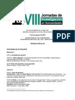 VIII Jornadas de Investigación en Humanidades 2019 Tercera Circular