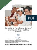 Da cabildo de Puerto Morelos _luz verde_ a hermanamiento con Medellín, Colombia