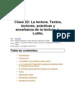 La Lectura. Textos, Lectores, Prácticas y Enseñanza de La Lectura. L. Lotito