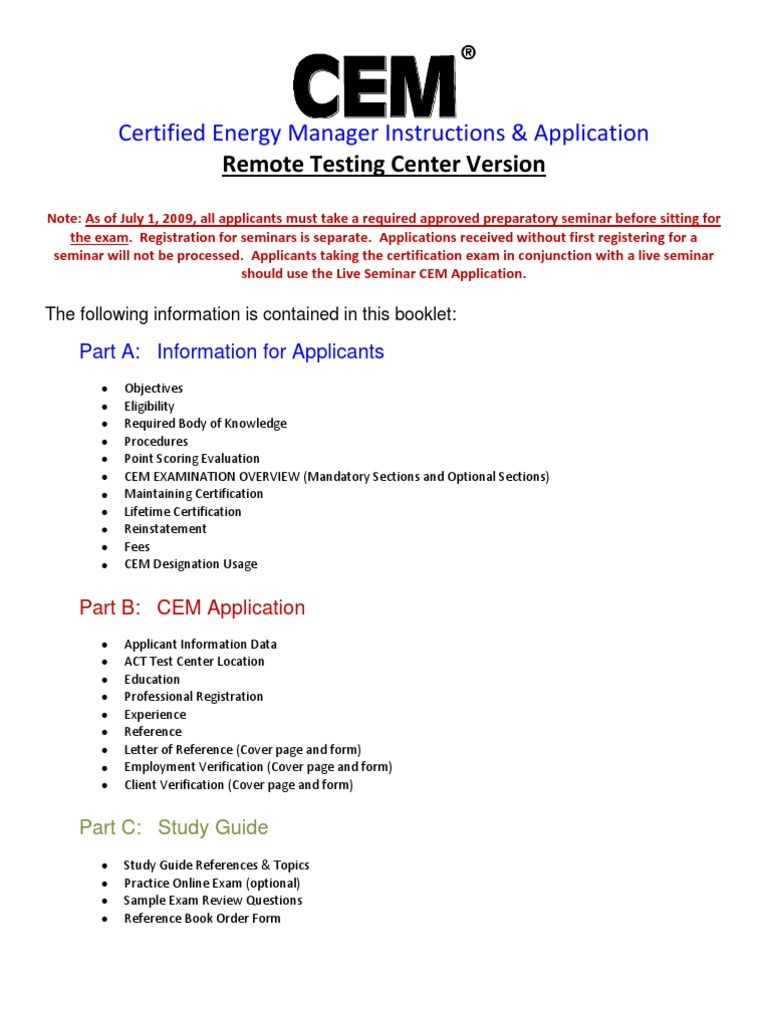 Certified Energy Manager - Complete Application (for Remote Testing ...