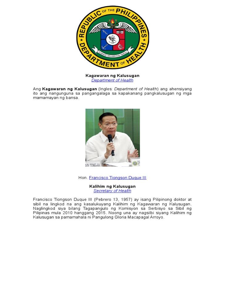 mga kagawaran at kalihim ng pamahalaang pilipinas 2018