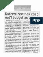Tempo, Sept. 20, 2019, Duterte certifies 2020 nat'l budget as urgent.pdf