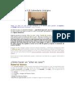 El Altar en Casa Y El Calendario Litúrgico