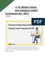 Obtain Status of Dormant Company Under Companies Act