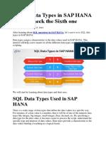 8 SQL Data Types in Sap Hana