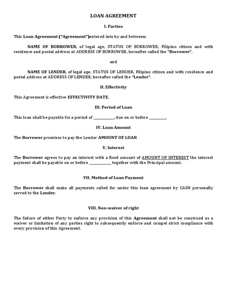 SAMPLE OF LOAN AGREEMENT PHILIPPINES.docx   Loans   Interest