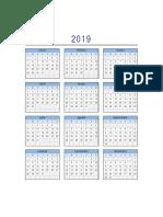 Calendario 2019 Excel Lunes a Domingo