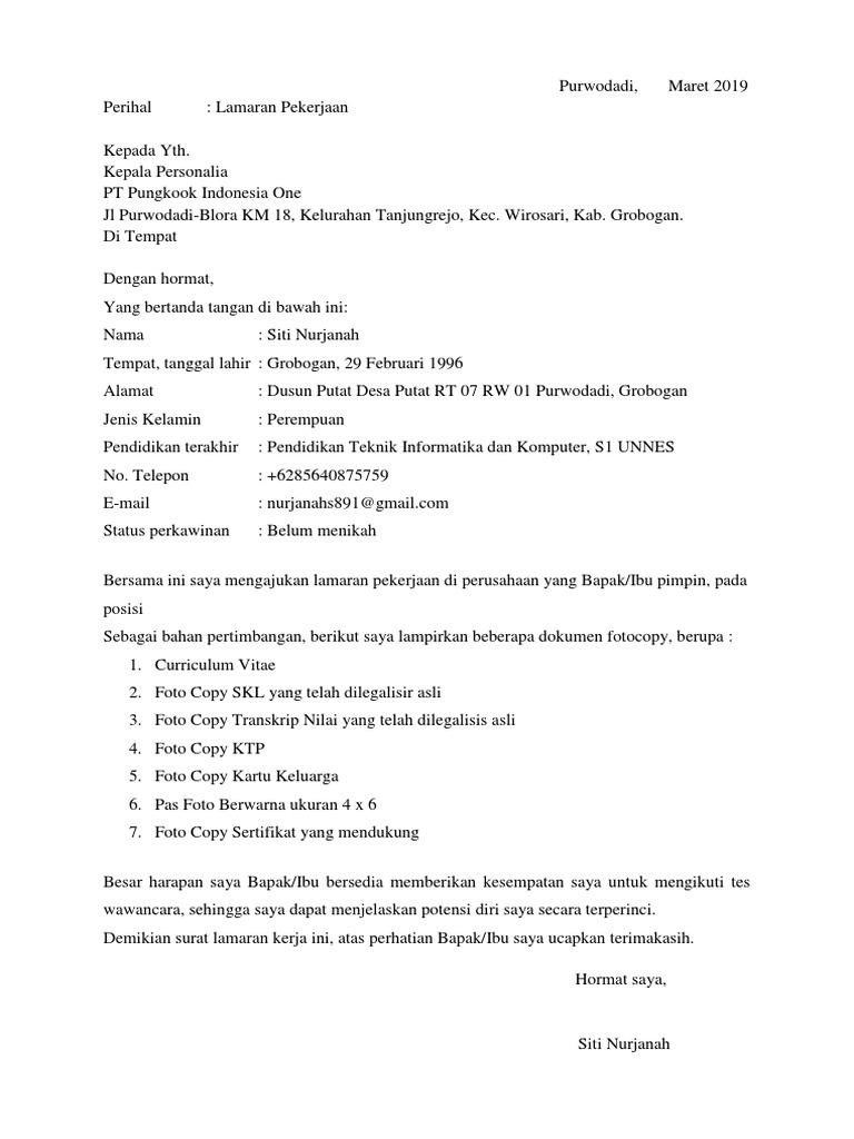Contoh Surat Lamaran Kerja Di Pabrik Air Minum Id Lif Co Id