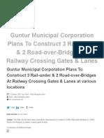 Guntur Municipal Corporation Plans to Construct 3 Rail-under & 2 Road-over-Bridges at Railway Crossing Gates & Lanes at Various Locations - Rail Analysis India