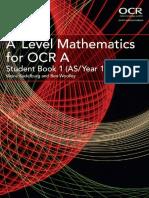 A Level Mathematics for OCR a Student Book 1