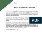 Comunicado de la oficina del presidente de la Generalitat