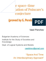 The space-time interpretation of Poincare's conjecture proved by G. Perelman