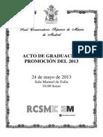 Programa de Mano Graduacion 2013