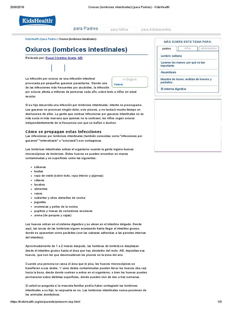 oxiuriasis in english