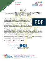 020-Aviso-fecha Límite Para Declaración y Pago Del Ir Anual 2017- 120318
