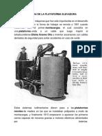 Historia de La Plataforma Elevadora