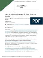 Preço Do Biodiesel Dispara e Pode Elevar Diesel Nas Bombas - 26-08-2019 - Mercado - Folha