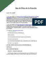 Ley 27815 - Ley Del Código de Ética de La Función Pública