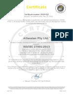 Atlassian Certificate-IsO 27001