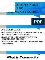 THE DEFINITION AND FORMS OF COMMUNITY ACTION