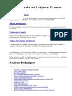 Dictionnaire Des Analyses Et Examens Part 2