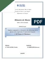 Analyse Comparative Et Discursive Des Éditoriaux de La Presse Écrite Algérienne d'Expression Française