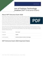 NIFT Entrance Exam Brochure