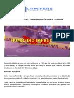 Homicidio Imprudente, Teoria Penal Con Enfasis a La Trazologia