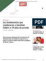 Los Fundamentos Que Condenaron a Jonathan Fabbro a 14 Años de Prisión - GENTE Artículo