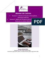 Livret Du Master Lettres - 2018-2019