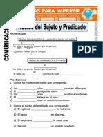 Ficha de Nucleo Del Sujeto y Predicado Para Segundo de Primaria