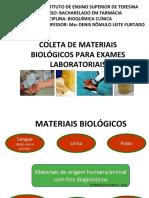 Coleta de materiais Biológicos
