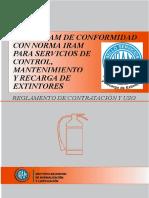 Conformidad IRAM para servicio de control, mantenimiento y recarga de matafuegos