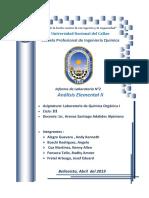Informe de Analisis Elemental II  - Química Organica 1