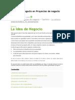 La Idea de Negocio en Proyectos de Negocio