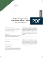 Análisis de los procesos de planeación, evaluación y control