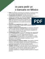 Requisitos Para Pedir Un Préstamo Bancario en México