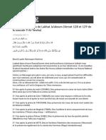 Quelques Bienfaits de Lakhat Ja'Akoum (Verset 128 Et 129 de La Sourate 9 at-Tawba