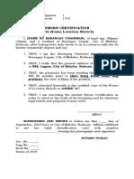 Residence Affidavit
