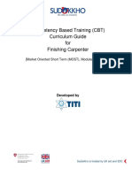 Competency Based Training (CBT) Curriculum Guide for Finishing Carpenter
