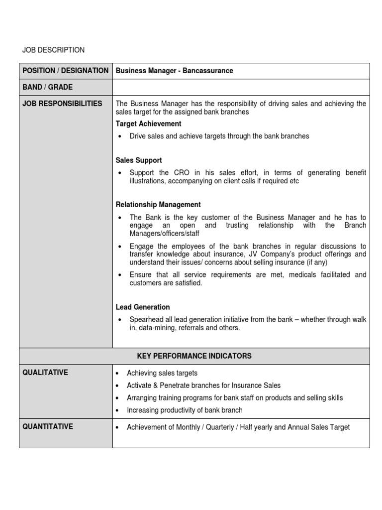 Position Designation Business Manager Bancassurance Band Grade Job Responsibilities Sales Banks