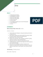 resume for kline fitness