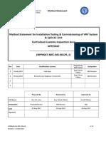 Method Statement for Installation, Testing & Commissioning of VRF & Split System Rev.01