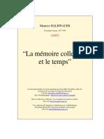 M. Halbwachs - La mémoire collective et le temps