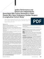 Preoperative Cognitive Performance and Postoperative Delirium Are Independently Associated With Future Dementia in Older  People Who Have Undergone Cardiac Surgery