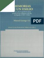 Memoria de Un Exilio Diario de La Expulsion de Los Jesuitas de Los Dominios Del Rey de Espana 17671768 0
